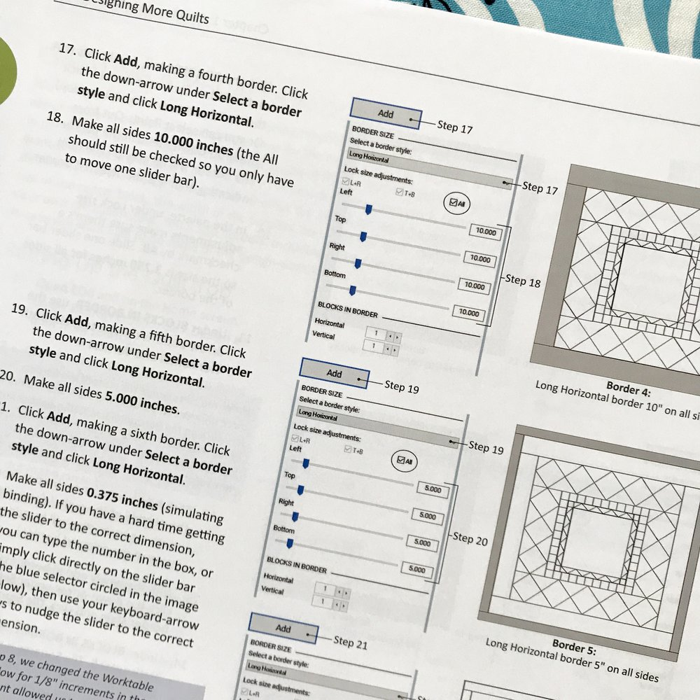 The Medallion Quilt chapter details strategies for laying out and constructing medallion quilts where each border builds upon the last. There are some pre-fab layouts for this style in the Layout Library. The Layout Library was a new find for me. Medallions seem like a great segue from samplers! I'd love to design a quilt in this style….