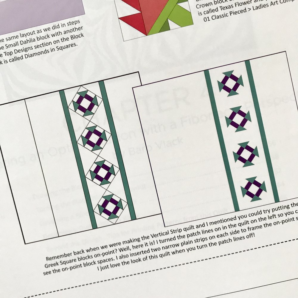 My Setting Pattern  is very similar to this example from the book in the Alternate Gridwork section. It was interesting to see how this quilt was constructed because I designed mine in the traditional horizontal grid layout instead of this strip layout. The Alternate Grillwork chapter outlines several layout method to utilize when building non-conventional designs.