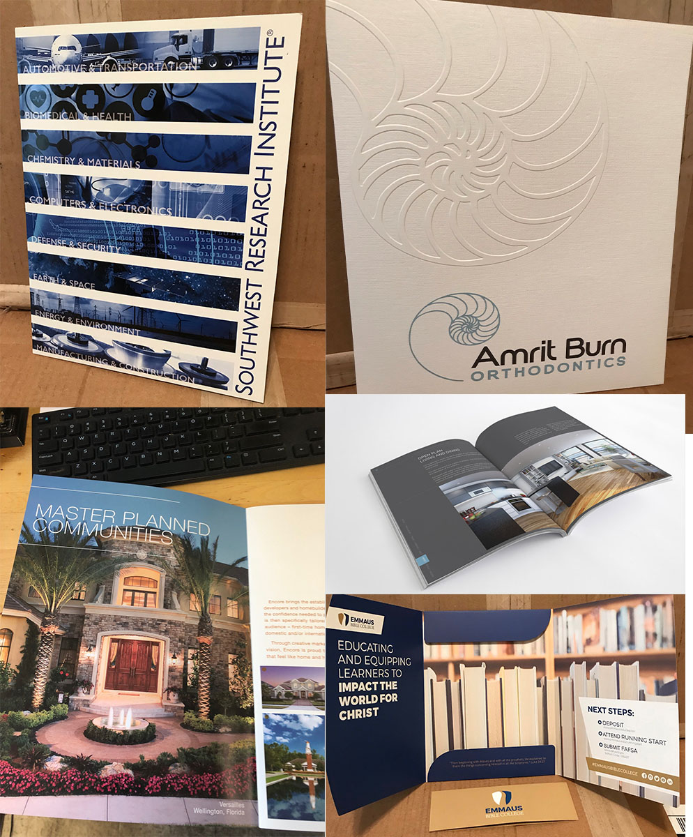 We do any style, type, or size booklets, folders and brochures! We can custom make anything to fit your needs. Whether it's a simple flyer or a luxury brochure we will consult you through the process to make sure you are happy with the end product.