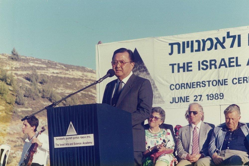 The late Senator Daniel Inouye of Hawaii. Seated from his left: Lynn and Charles Schusterman and Jerusalem Mayor Teddy Kollek.