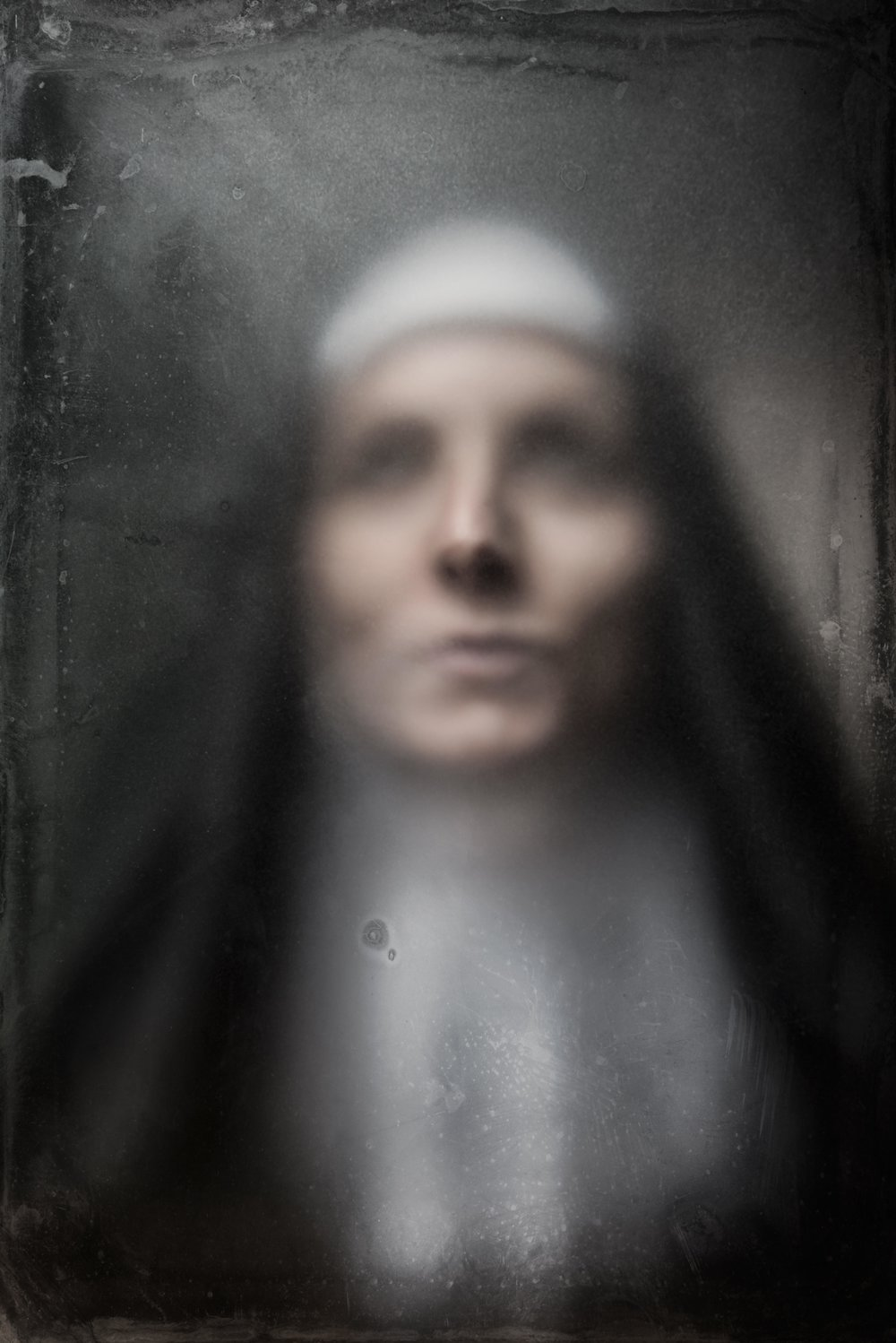 austin-trigg-halloween-spooky-portraits-Nun-lighting-project-personal-scary-makeup-costume-old-fashion-style-fog-glass.jpg