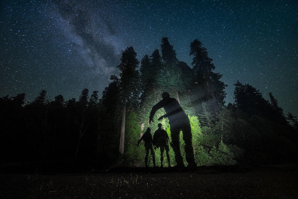 austin-trigg-redwood-water-bottle-Sasquatch-night-adventure-califrnia-shadow-creature-milky-way.jpg