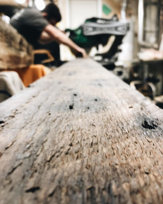 """""""I just want to get home and play with my wood!"""" Actual quote by me and not a middle school boy. We stayed up way too late last night working on this salvaged wood project we have been busy with, but it is looking so good!  #blog #modernfarmhouse #blogger #remodel #pdx #salvagedwood #barnwood #remodeling #projectsandpuns #linkinbio #interiordesign #interior"""