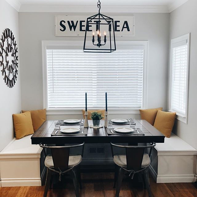 Finally finished this sweet breakfast nook 😍 hubby built the bench himself and even rigged it with storage and electrical outlets. #modernfarmhouse #breakfastnook #remodel #remodeling #interiordesign #interiorstyle