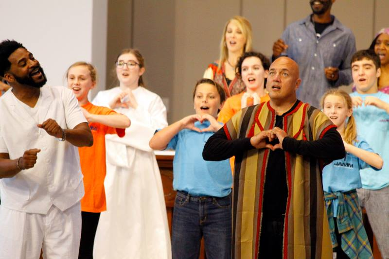 Cast of JOB performs with members of Divine Mercy Parish, Kenner, LA photo credit: Lorraine Hess