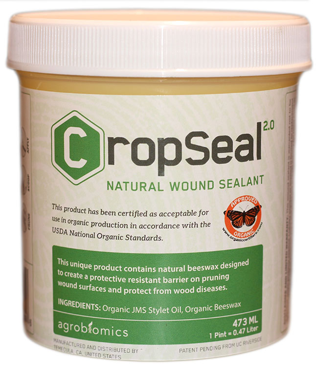 CROPSEAL 2.0 - The first commercially available patent-pending pruning wound sealant certified for use in organic production in accordance with the USDA National Organic Standards to prevent against trunk diseases.Learn More →