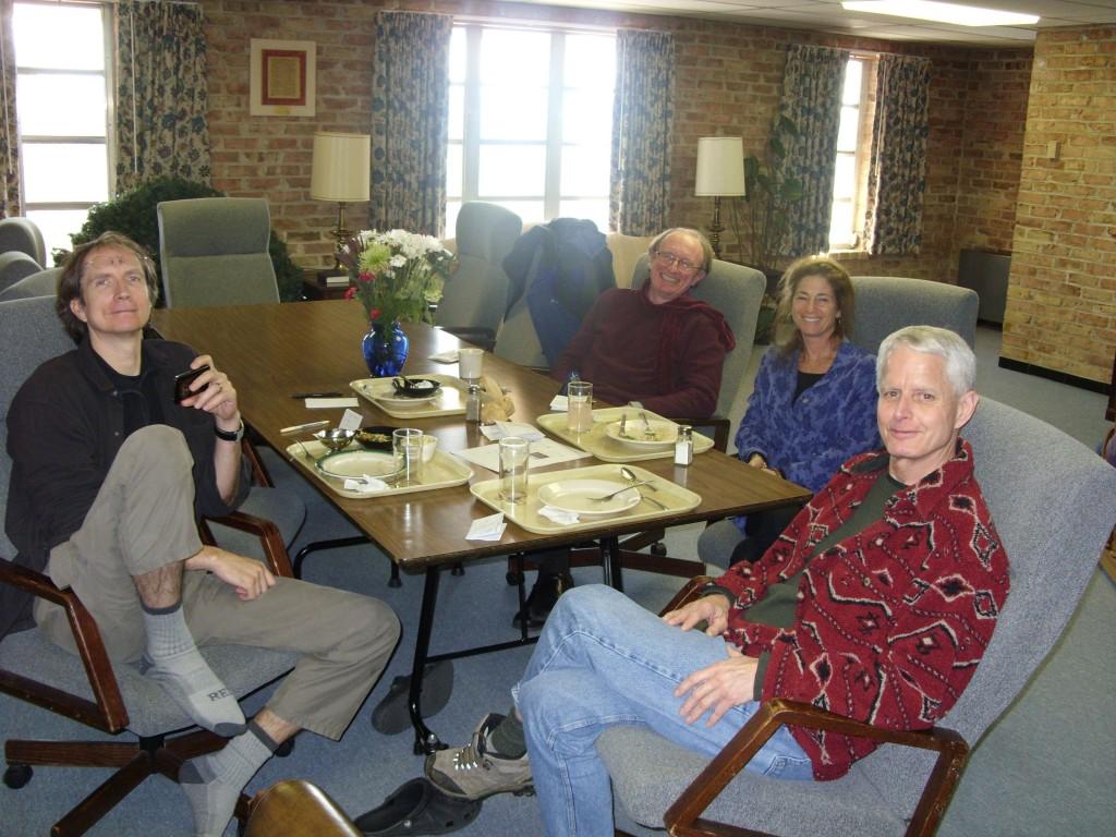 The teachers on a lunch break.  Jonathan Foust, Hugh Byrne, Tara Brach and Pat Coffey.