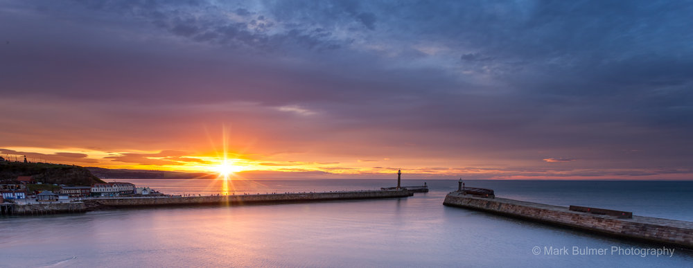 Whitby Twin Piers Sunset