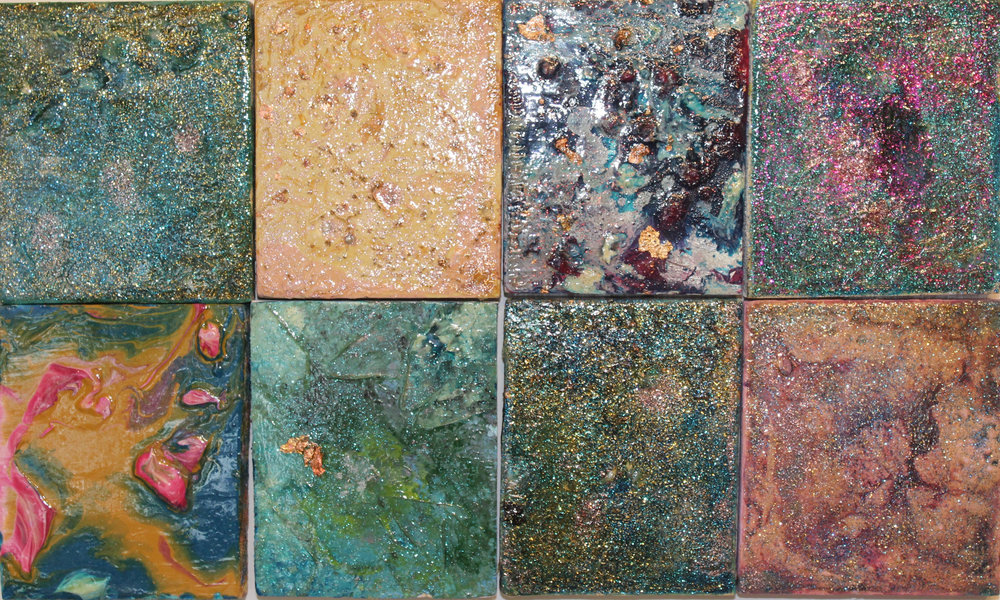 Marbelled Minatures   Acrylic, Varnish, Copper Leaf and Glitter on panel  Total Octaptych: 9.5X16 Inches  $210