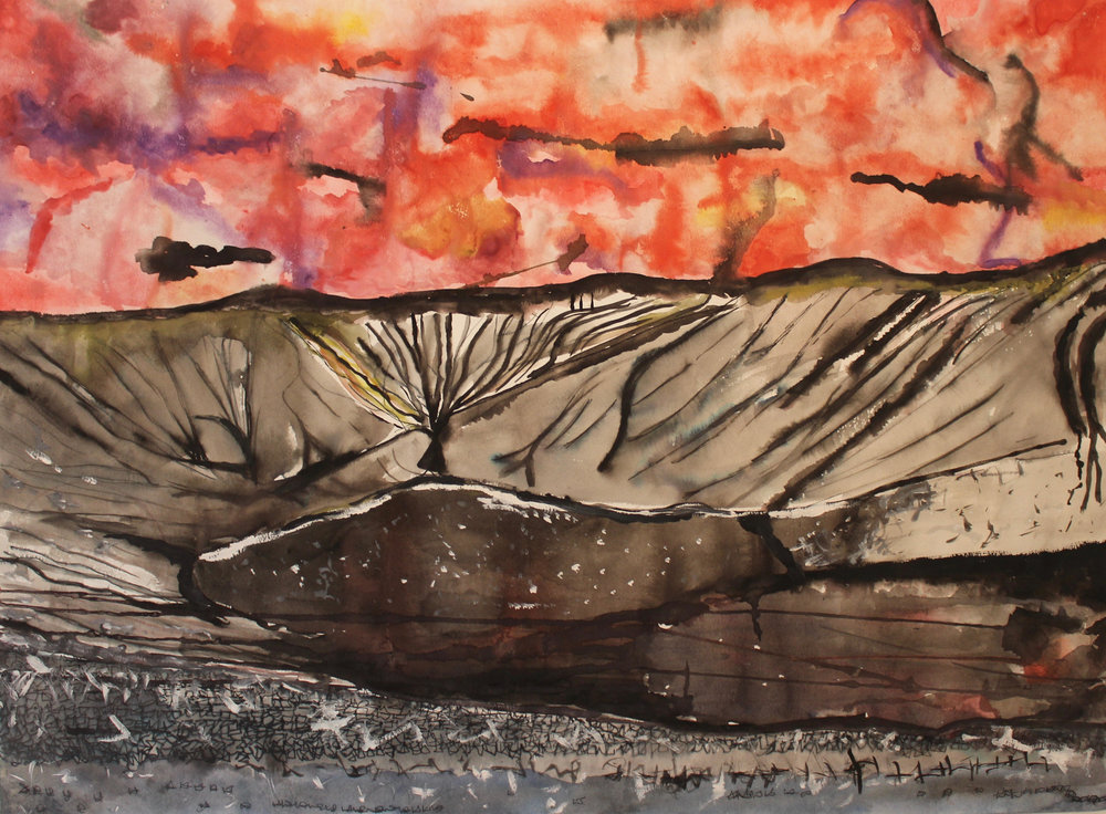 Tunglið   Watercolor and Ink on Paper  22X30 Inches  $245
