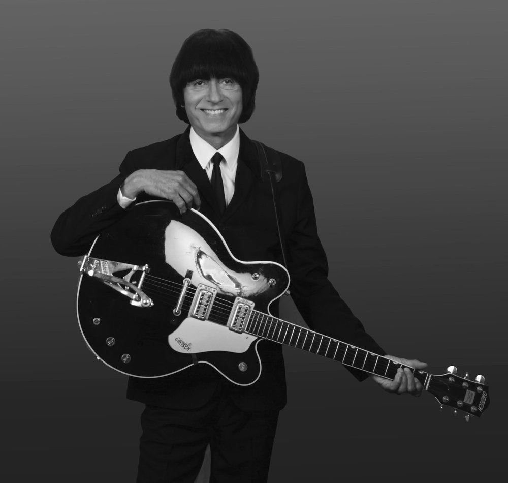 JIMMY POU - George Harrison, portrayed by Jimmy Pou, toured the world with the original Beatlemania show. He has also played with 1964 the Tribute, Beatlemania Now, and Rain. He also has his solo tribute to the quiet one called