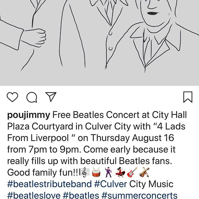 "Free Beatles Concert at City Hall Plaza Courtyard in Culver City with ""4 Lads From Liverpool "" on Thursday August 16 from 7pm to 9pm. Come early because it really fills up with beautiful Beatles fans. Good family fun #beatles #beatlestributeband #summerconcerts"
