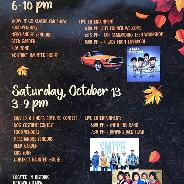 "Friday October 12 in Yucaipa @ ""Autumnfest"" come see ""4 Lads From Liverpool"" showtime 8pm  #Beatlestribute #tribute #yucaipaautumnfest #beatleslove"