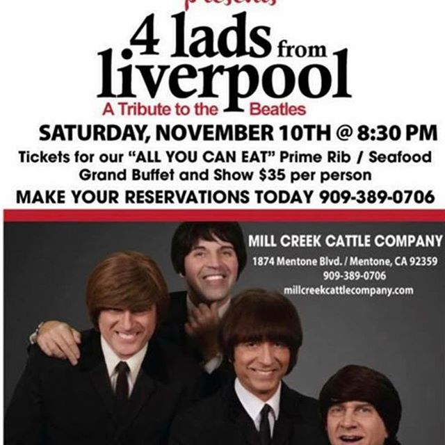 "I'm playing Las Vegas on Saturday at Planet Hollywood, then Sunday private bday party in Orange, November 3 another private party in LA and then the ""big one"" Mill Creek Cattle Company Get your tickets now, this show always sells out, and great food!!!! And Beatles Show with ""4 Lads From Liverpool"" #beatlestribute #beatleslove #mentone #beatlesforever #tribute"
