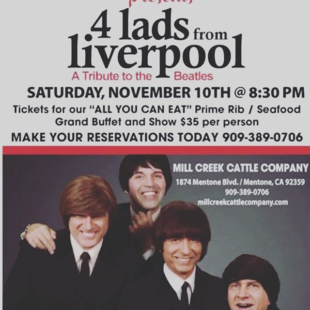 "I'm playing Las Vegas on Saturday at Planet Hollywood, then Sunday private bday party in Orange, November 3 another private party in LA and then the ""big one"" Mill Creek Cattle Company Get your tickets now, this show always sells out, and great food!!!! And Beatles Show with ""4 Lads From Liverpool"" #beatlestributeband #beatles #beatlestribute #tributebeatles #mentone #millcreekcattlecompany #4ladsfromliverpool"