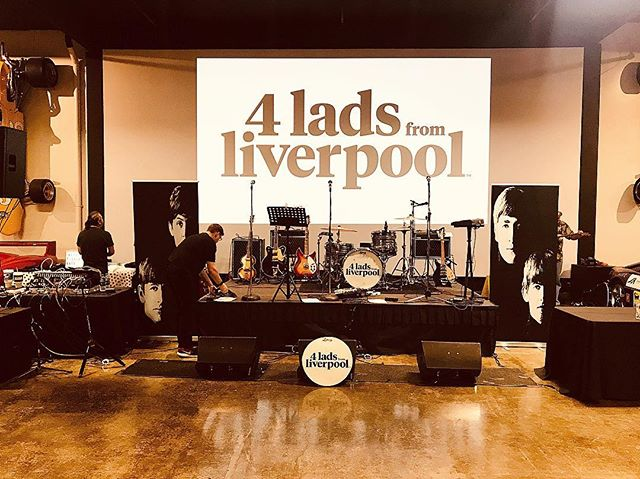 """Setting up for tonight's show """"4 Lads From Liverpool"""" at Marconi Auto Museum for the KFI radio station Yeah Baby!  #beatles #livemusic #lovemusic #beatletributeband #kfiradio"""