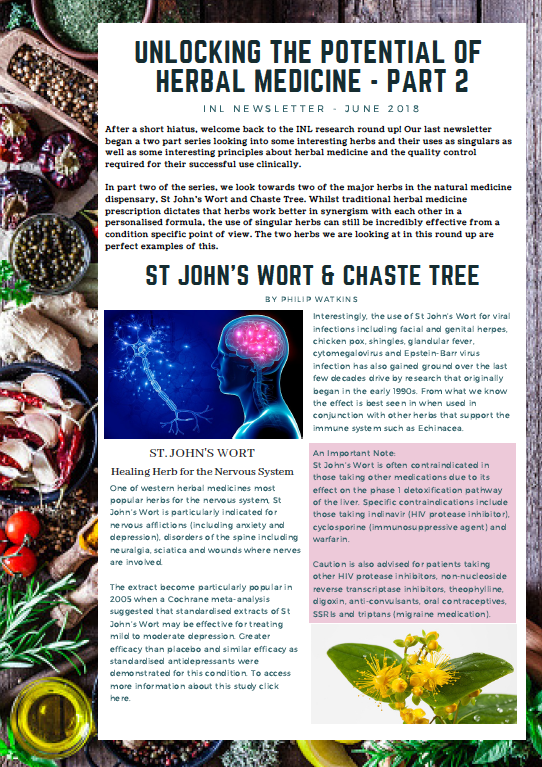 Click below to download:  INL Newsletter (Jun 2018) Herbal Medicine Part 2 - St. John's Wort & Chaste Tree