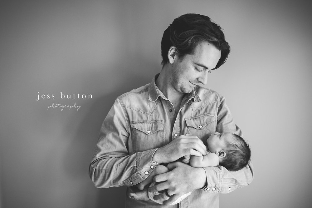 dad with baby girl - studio lifestyle | 8 day old baby girl | Niagara Falls Newborn Photographer