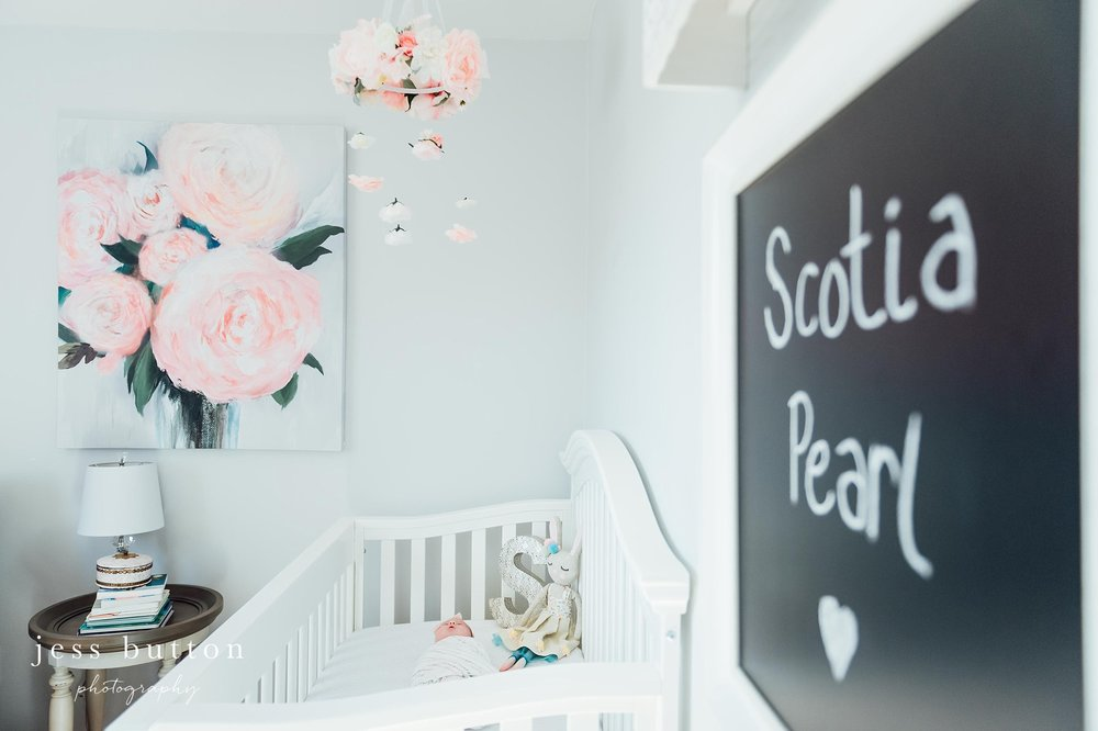 Niagara Newborn Photographer - baby girl in floral nursery