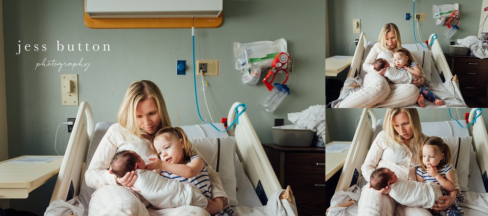 new mom with baby boy and toddler in hospital delivery room during fresh 48 newborn session in St Catharines