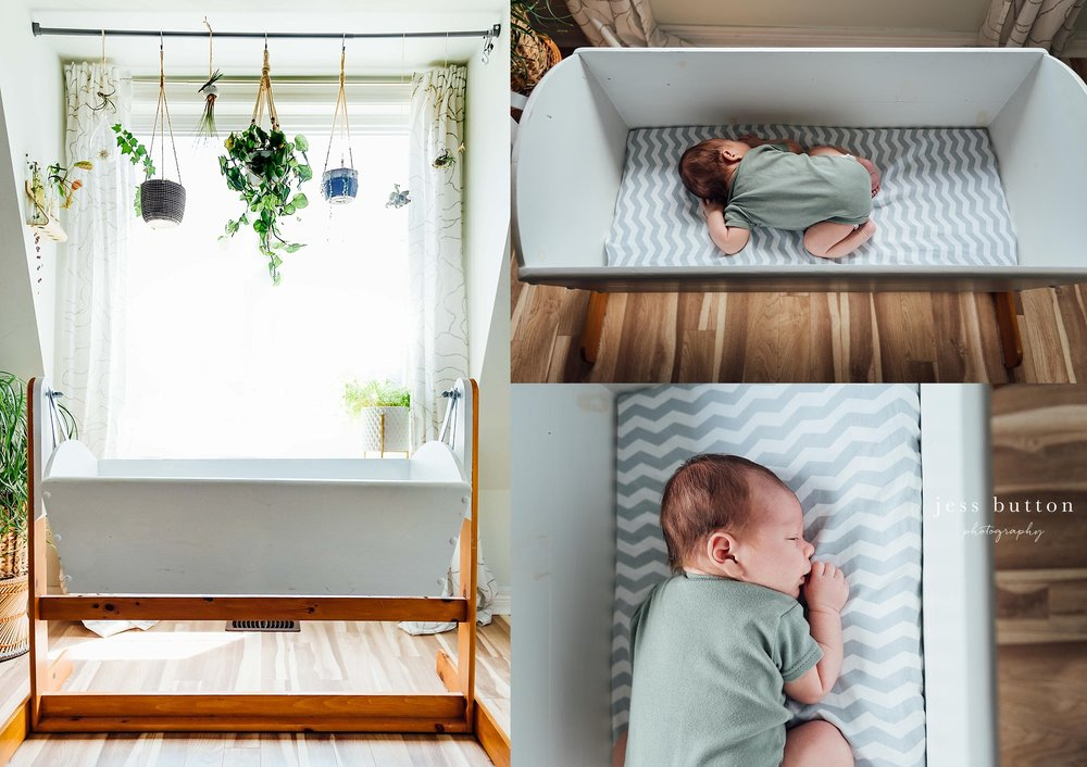 Baby boy in home lifestyle session | 3 week old newborn | Niagara Newborn Photos