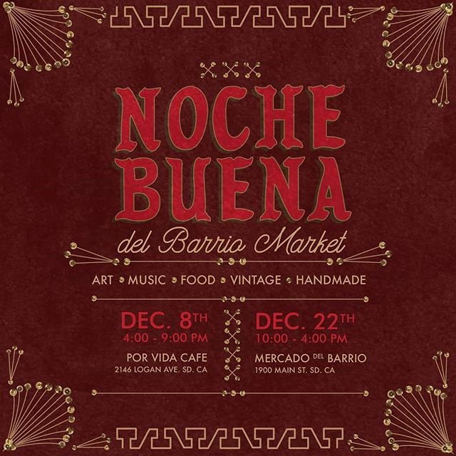 The Noche Buena Market is right around the corner! This Saturday December 8th hosted by @delbarriomarket  You'll be able to find unique vintage items, jewelry, art,  handmade goods and more!! 4:00pm to 10:00pm 2146 Logan Ave 92113 . . . . #barrioartcrawl #barriologan #sandiego #artwalk #barriologanculturaldistrict #92113