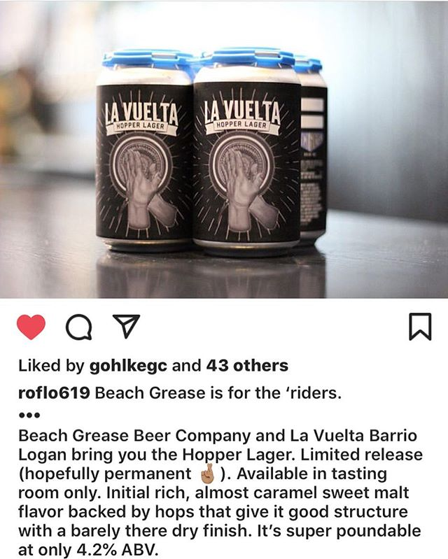 The homie @roflo619 got his ... thank you for the constant support 🙏🏽🙏🏽🙏🏽 ... #taguswithyourdrink #lavueltabarriologan #beachgreasebeerco #hopperlager #somethingnew #smooth #light #brewedforus
