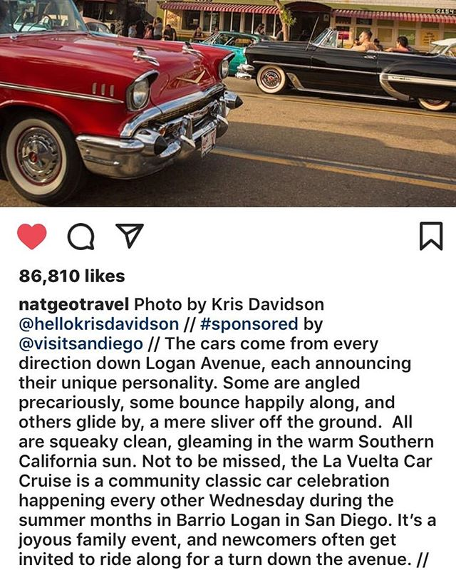 Nice to see our love for lowriding, culture and love for community be recognized in a positive manner by @natgeotravel and @visitsandiego ... lowriding is not a crime it's a lifestyle ... #positive #2019 #lavueltabarriologan #barriologan #sandiego #lowriders #bombs #classics #vintage #community #art #music #cultura ...