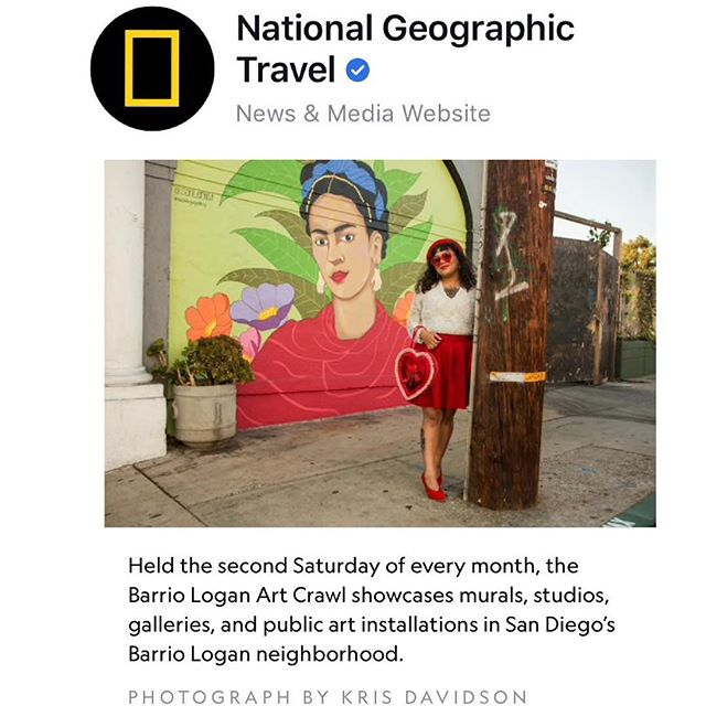 You heard it right! Thank you @natgeo for the love! Next Art Crawl will be Sat. Feb. 9, 2019. Frida Mural by @soni_artist - - - -  #barriologan #loganheights #619 #art #artcommunity #artsdistrict #artshow #barriologanculturaldistrict #sdartist #barrioartcrawl #sandiego
