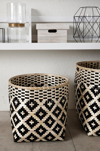 Perfect for any neutral scheme, these beautiful baskets are not only functional, but add a bold pattern to the space.