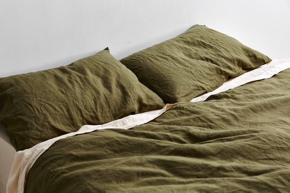 Olive Green bed linen.