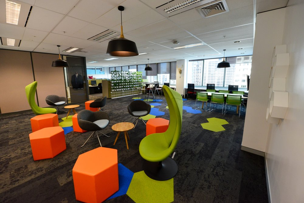 Unique, colourful interior design of AON Insurance