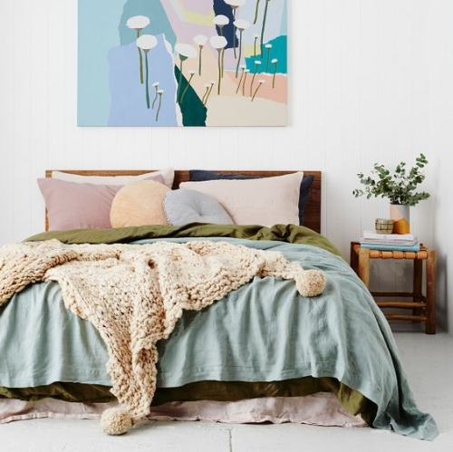 The Pastels : This would be a teenagers dream bedroom! I love the combination of pastels with the olive green and tobacco colours.