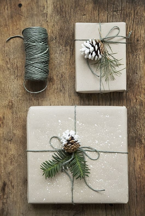 Pinecone present wrapping