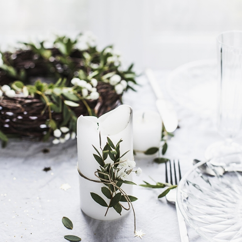 Simple is key - I love this simple idea for spicing up your dining table over the holiday season, a little greenery and twine and you are good to go!
