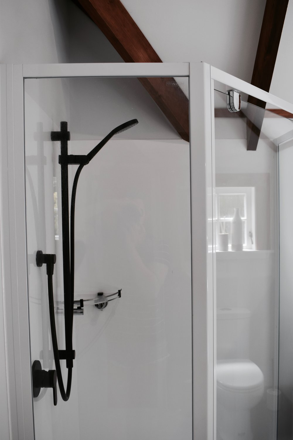 Black shower rail