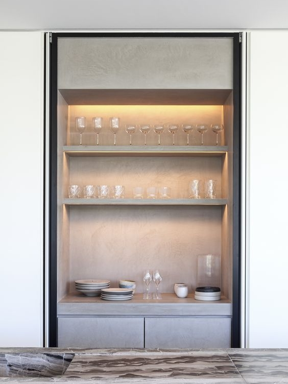 Pocket doors are a god send on pantries, they make circulation easy and make the space usable even with the doors open.