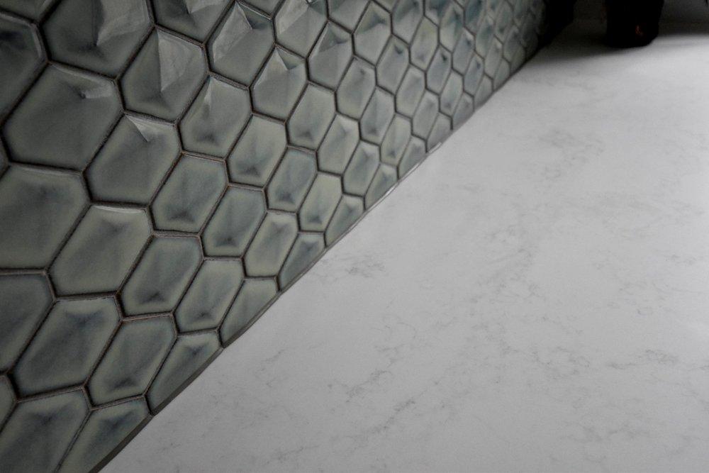 Backsplash tiles from  Artedomus .