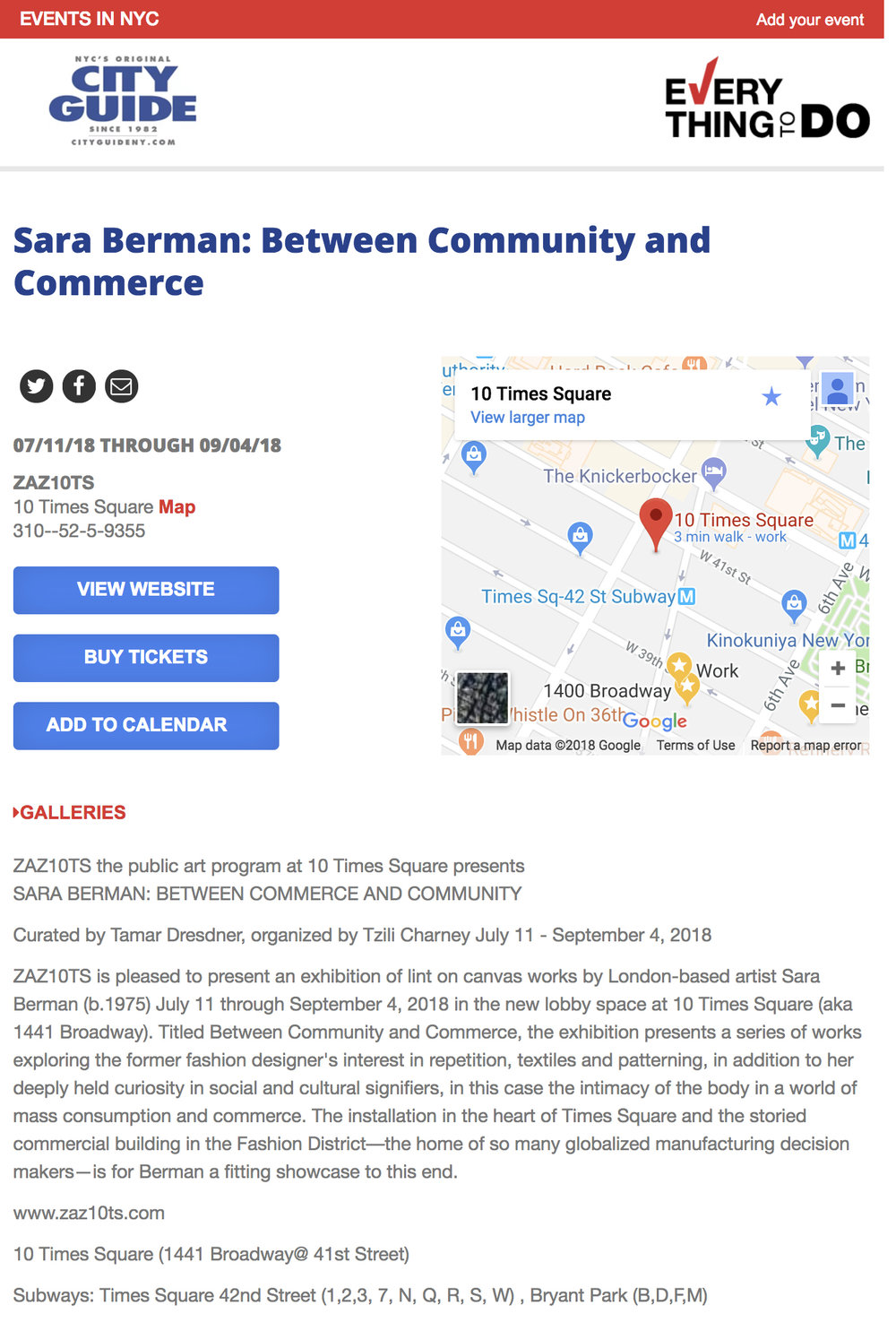CITY GUIDE  Sara Berman: Between Community and Commerce (July 11, 2018)