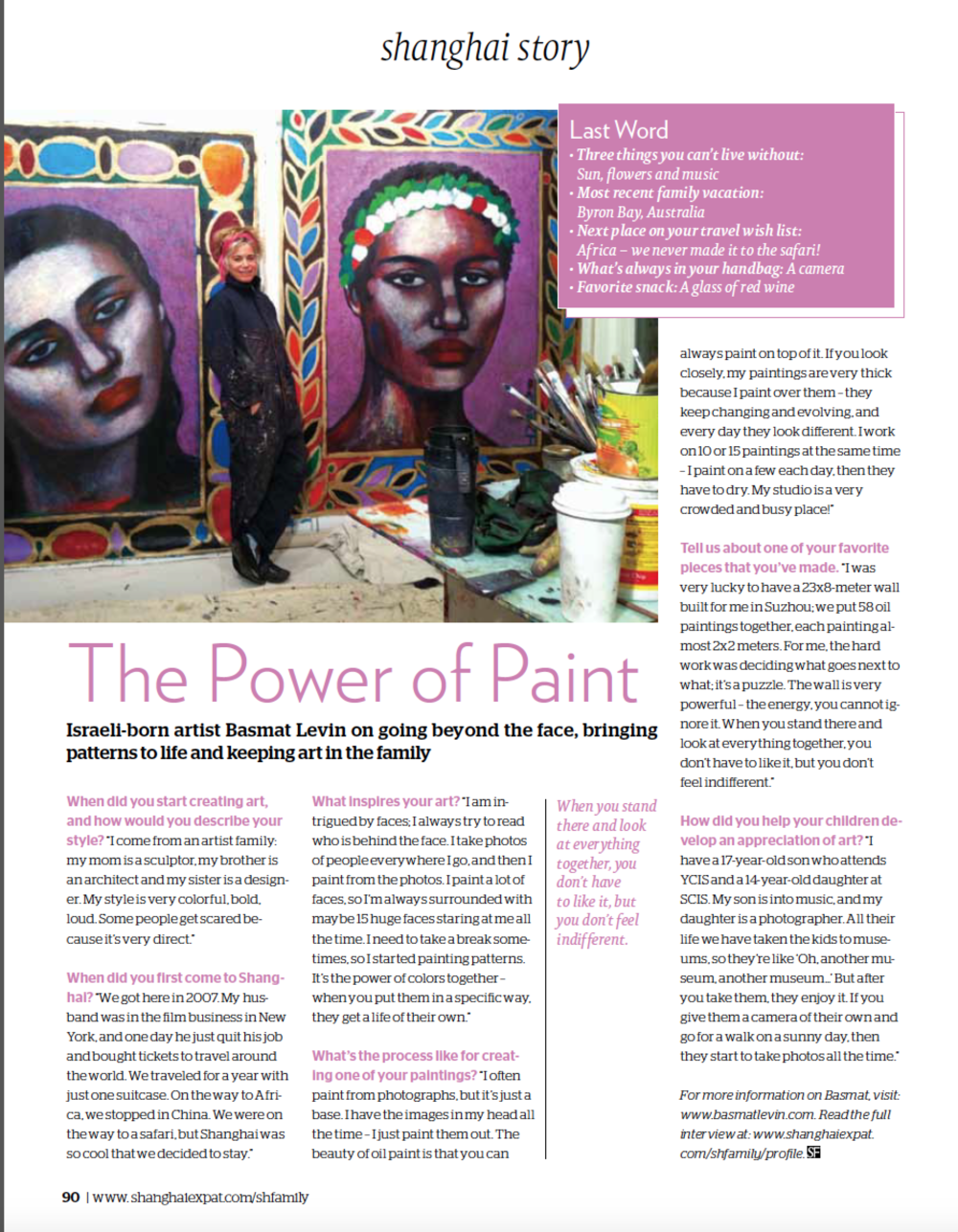 """Shanghai Story, April 2016, """" The Power of Paint""""  Learn More"""