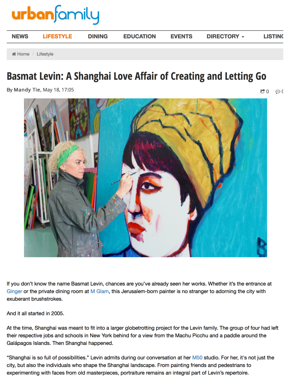 "UrbanFamily, 18 May, 2018 "" Basmat Levin: A Shanghai Love Affair of Creating and Letting Go""  Learn More"