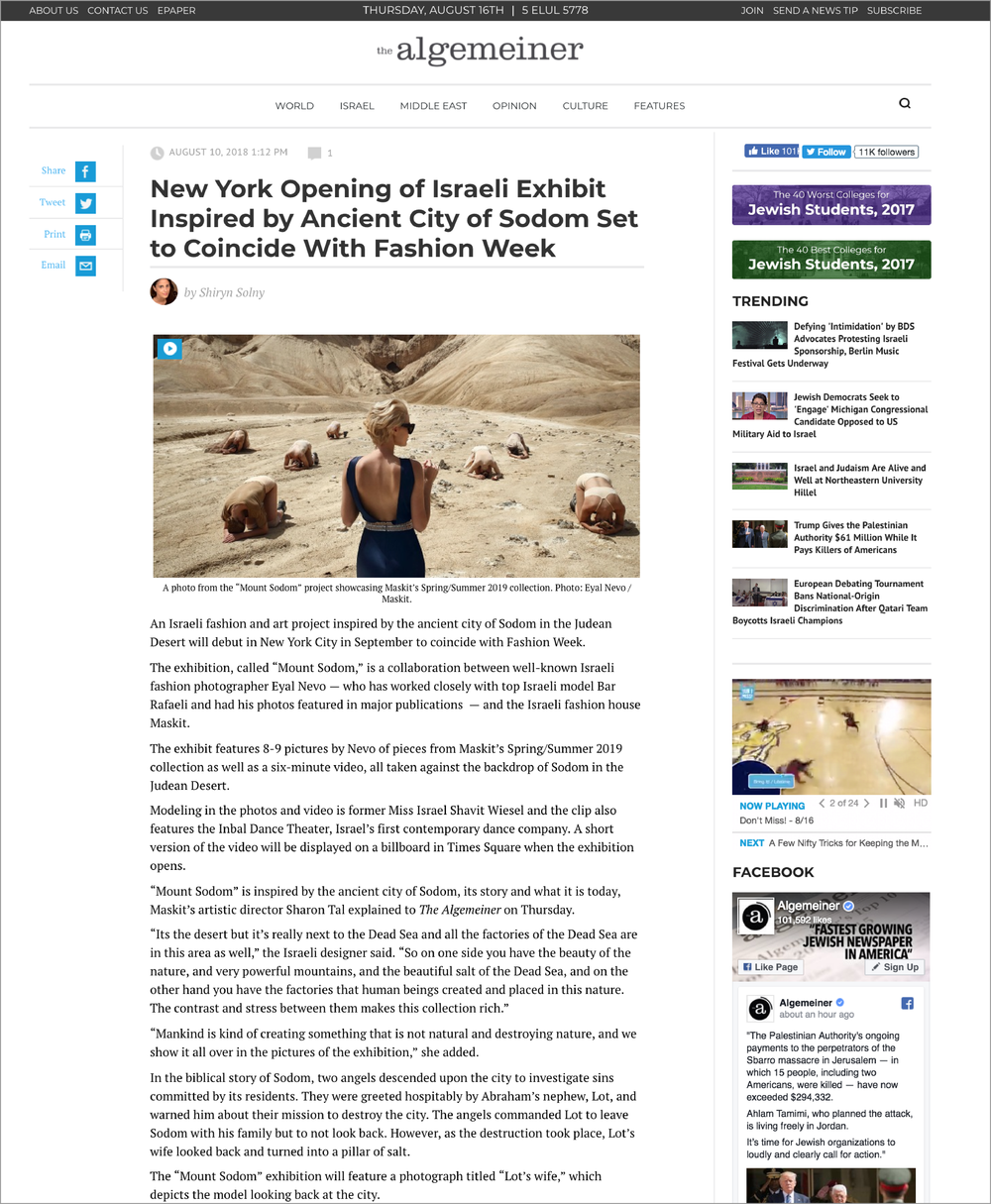 The Algemeiner  New York Opening of Israeli Exhibit Inspired by Ancient City of Sodom Set to Coincide With Fashion Week. (August 10, 2018)