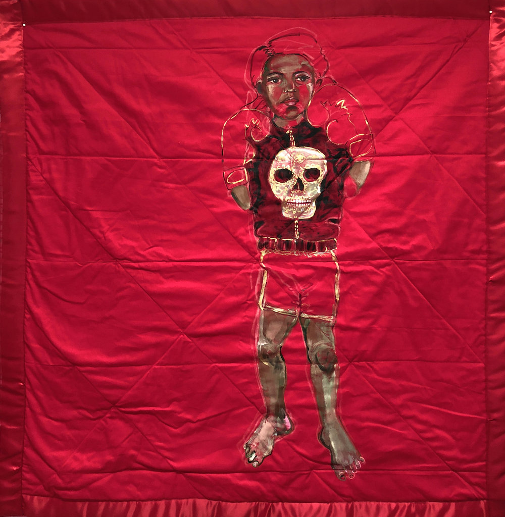 Red Blanket , (Boxer), 2018, acrylic on fabric, 40 ½ x 37 ½ inches