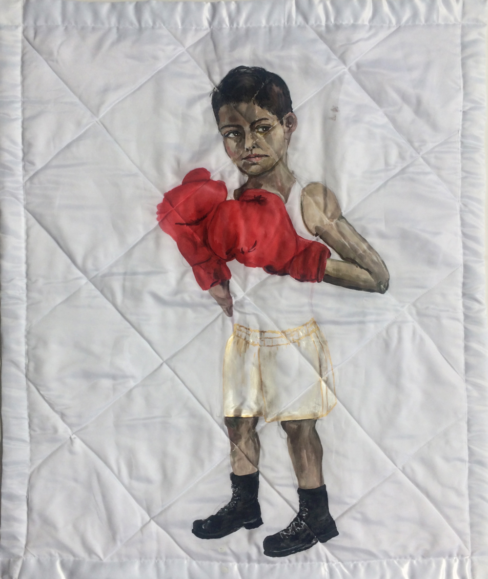 White Blanket,  (Boxer Boy), 2018, acrylic on fabric, 42x36 inches