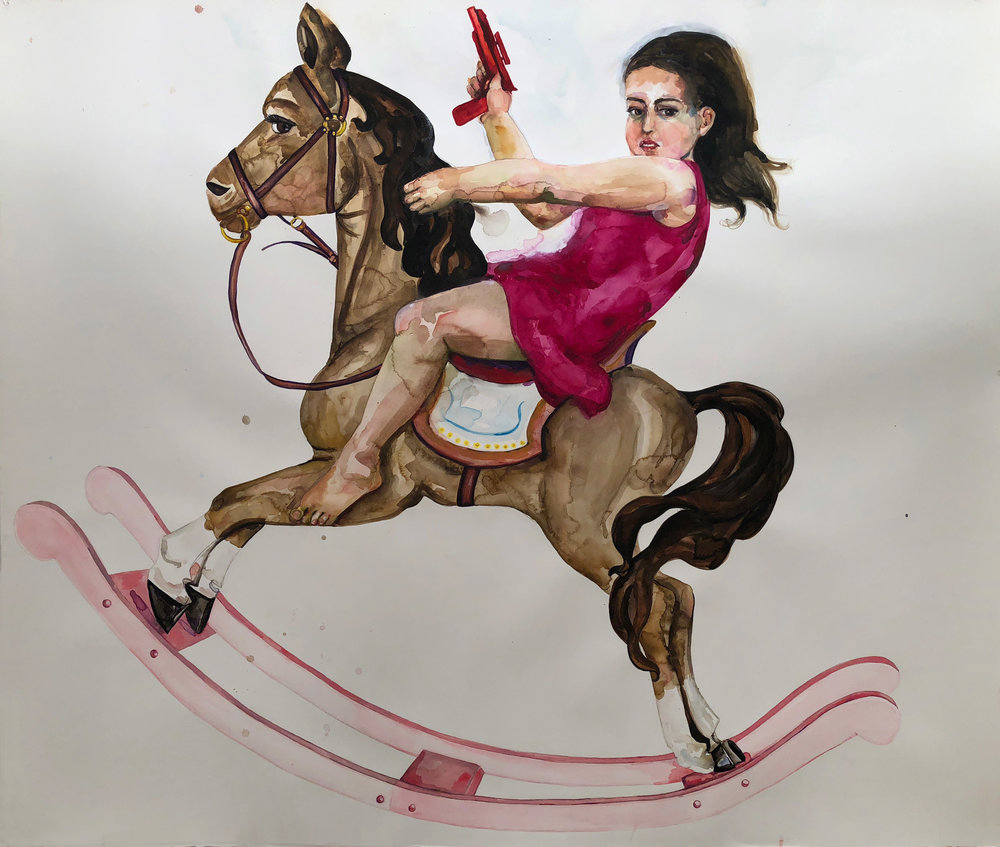 Girly Horse , 2012, watercolor on paper, 52 x 60 inches