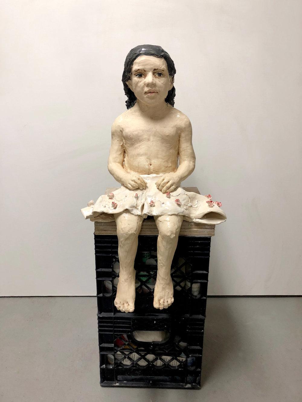 Girl with Skirt,  2018, glazed ceramic, 29 X 16 X 11 inches
