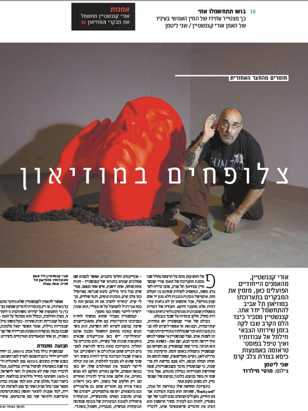 "Haaretz-Art and Culture      ""Come get Electrified with Me"" ( May 25, 2015) Click  here  to read English version."