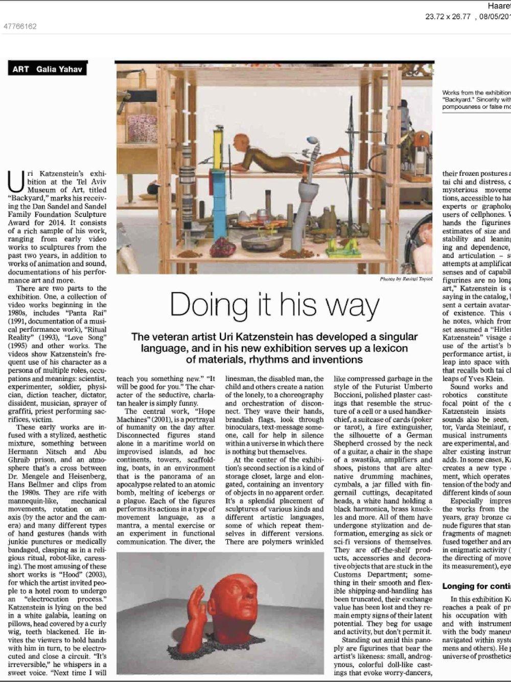 """Haaretz-guide     """"Do it his way"""" (May 8, 2015)"""