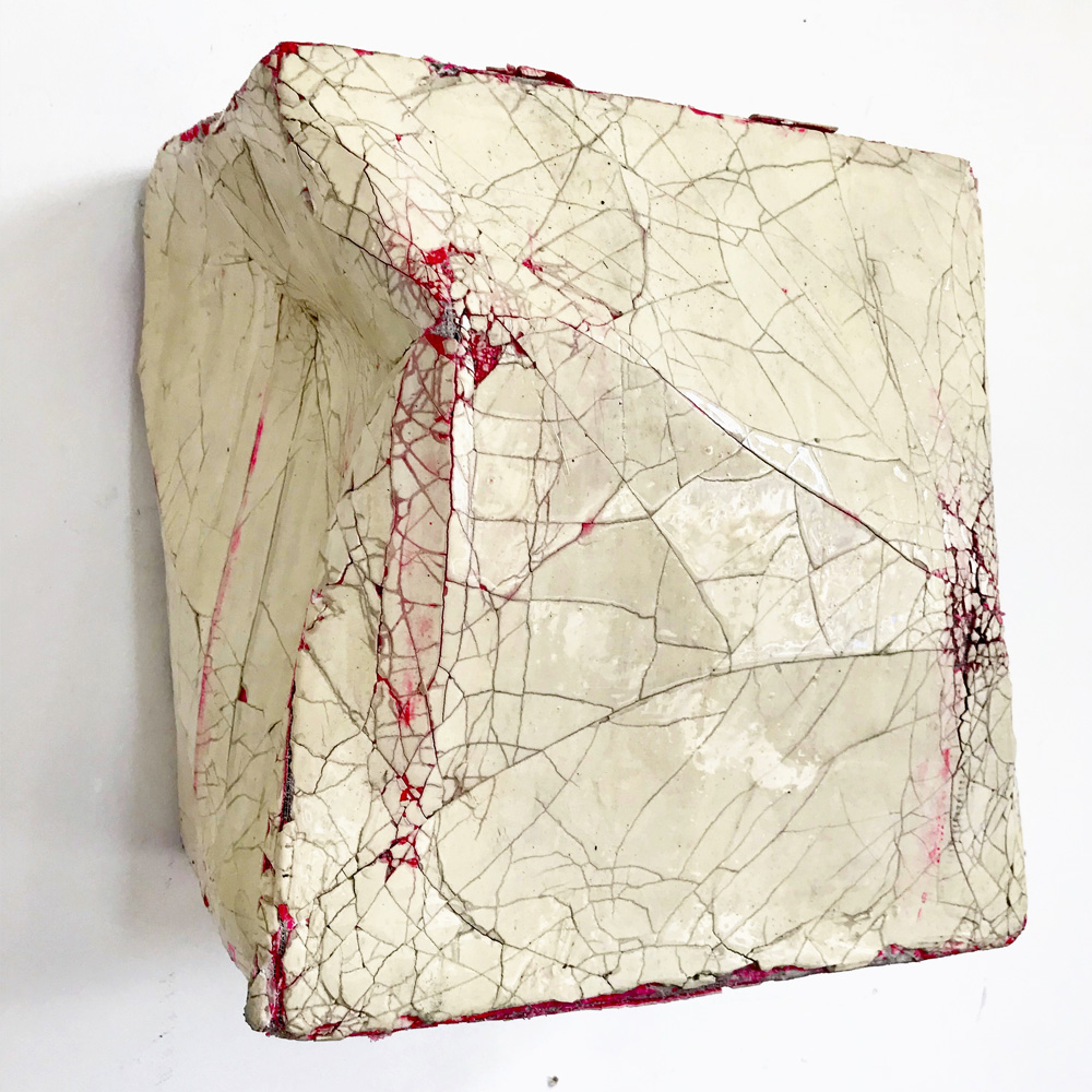 Monique Lacey - Crackle, 2017 300 x 350 x 230mm. Cardboard, duct tape, plaster, resin, spray paint.