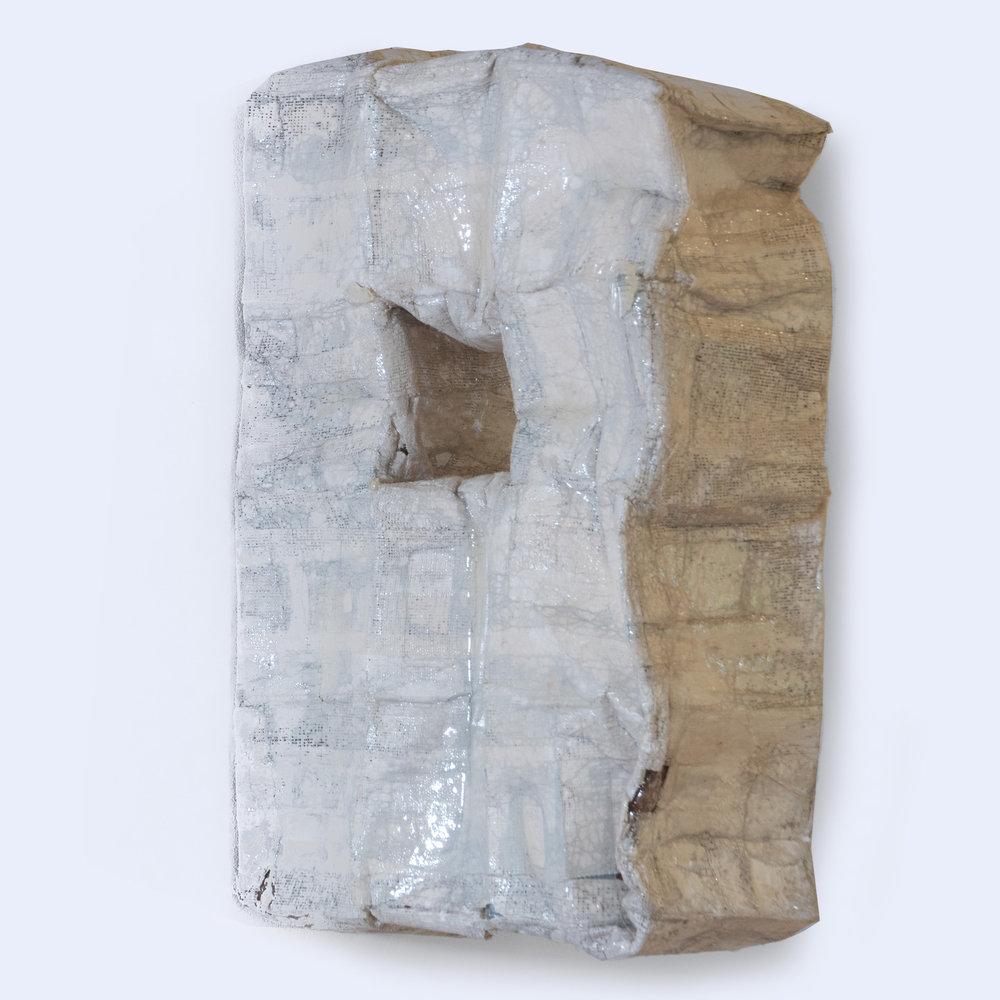 Monique Lacey  'Interstitum', 2018. 540 x 160 x 360mm  Cardboard, duct tape, plaster, resin, spray paint